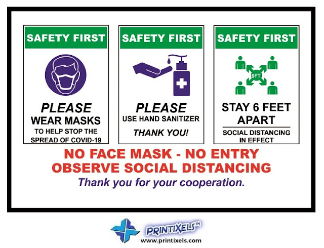 Safety First COVID-19 Signs