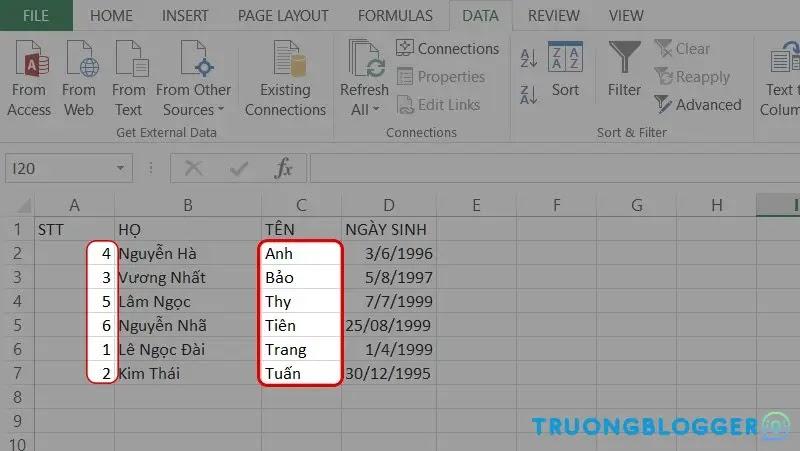 Cách sắp xếp tên theo thứ tự ABC trong Excel đơn giản