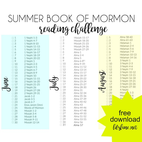 Summer Book of Mormon Reading Challenge by LDSLane.net