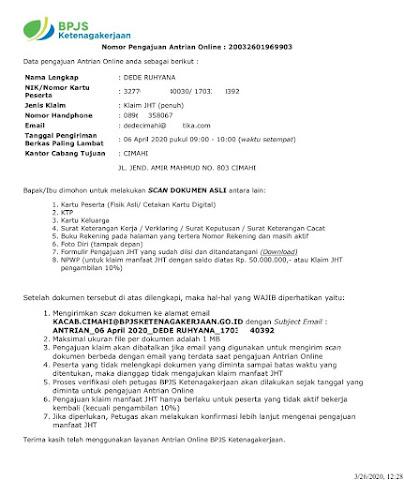 Bukti Antrian Online BPJS TK Terbaru Maret 2020