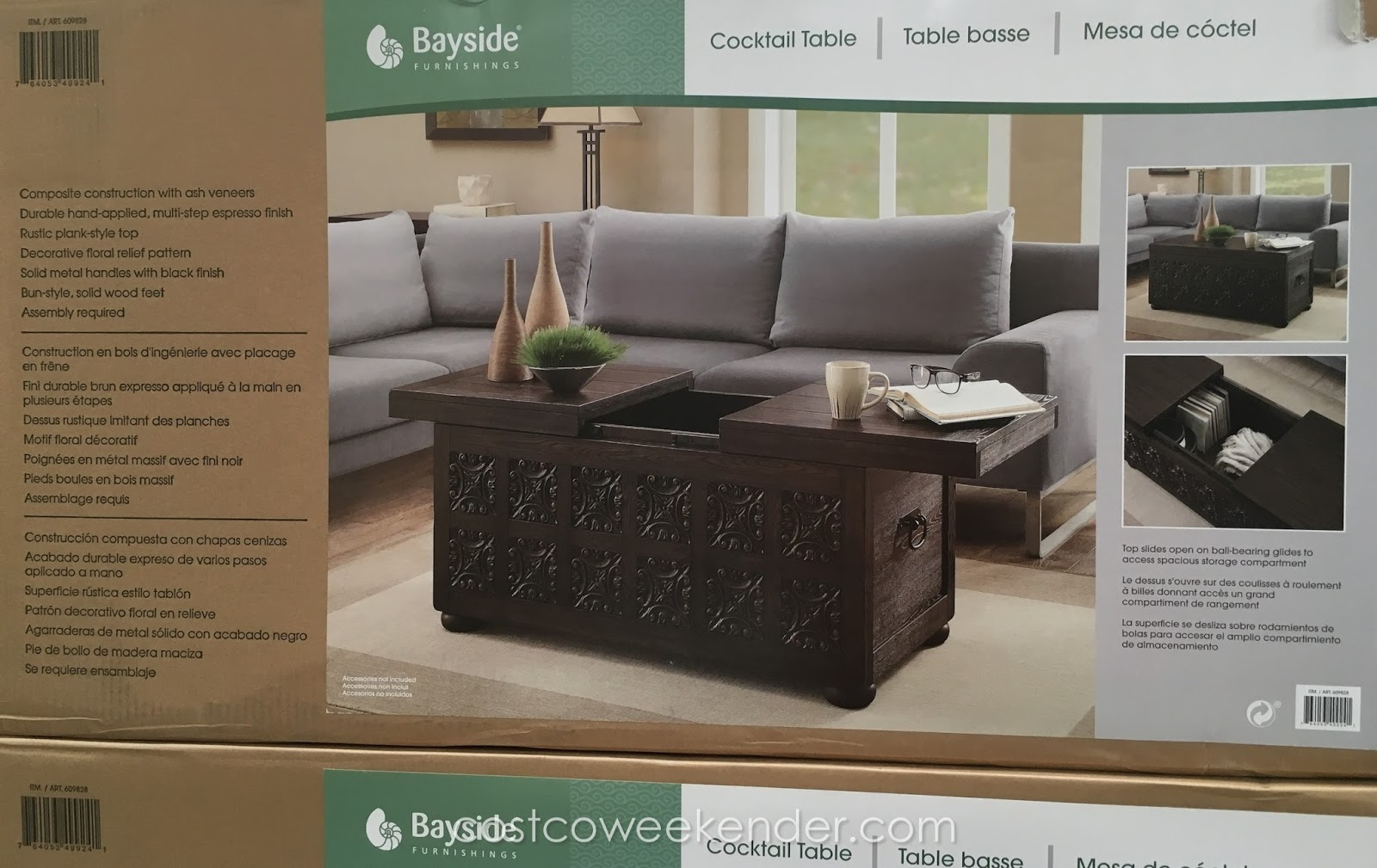 Costco Coffee Table Bayside Furnishings Storage Cocktail Table Costco Weekender