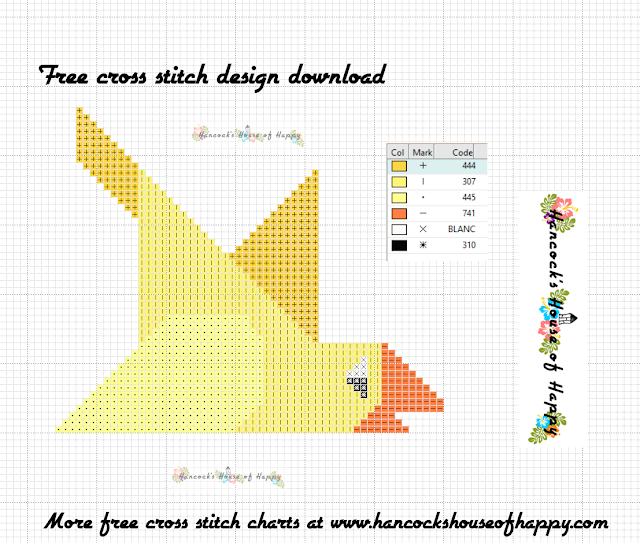 Free Beginner Cross Stitch Design to Download: Geometric Canary