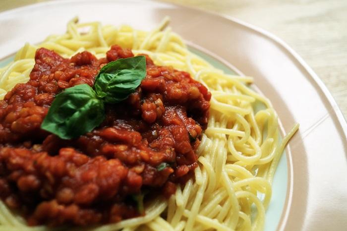 Linsen-Bolognese vegan einfach glutenfrei