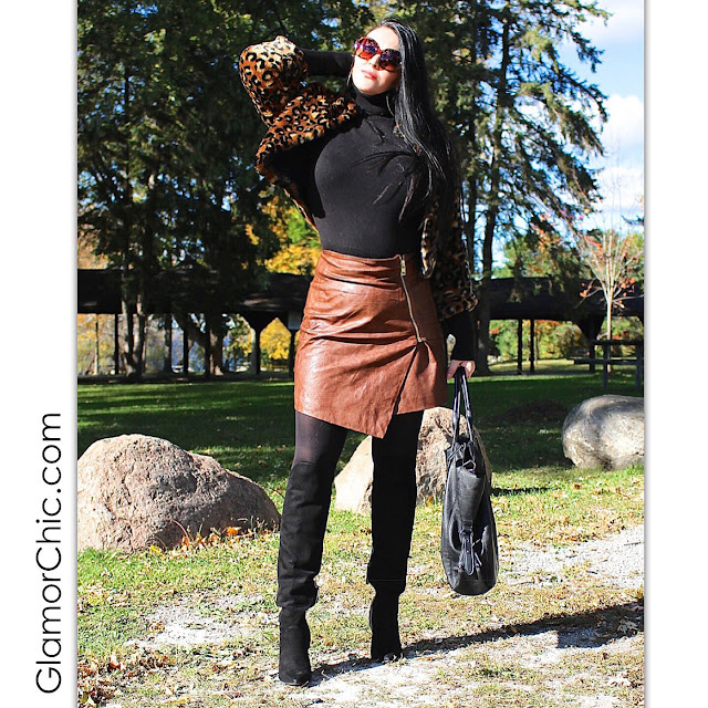 browns shoes bag, leather skirt, brown skirt, faux fur coat, winter trends, city chic