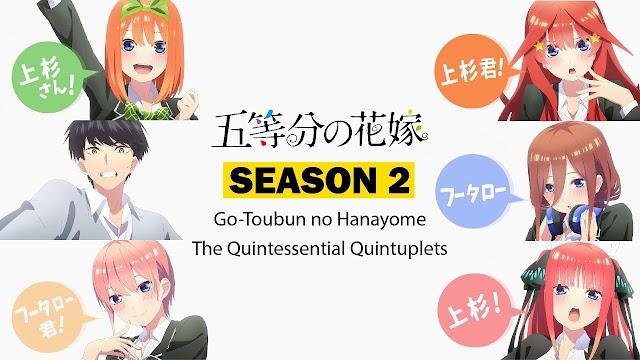 Gotoubun no Hanayome Season 2 Ditunda Sampai Januari 2021