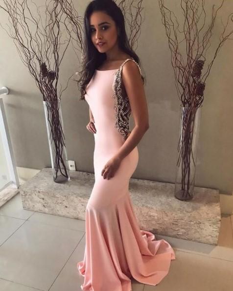 vestido de festa sereia rosa claro