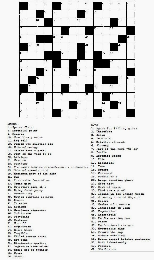 Free printable Word Search and Sudokus: Crossword 8