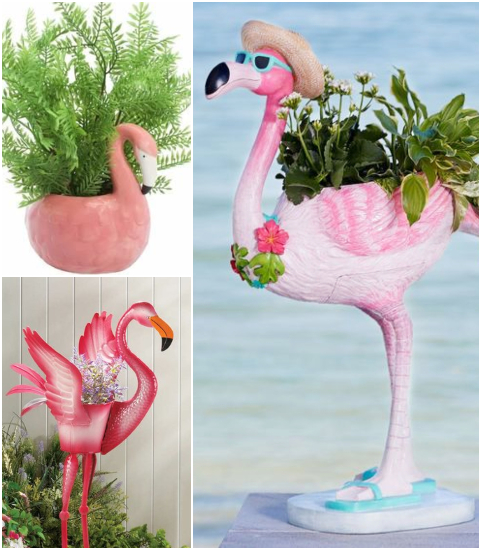Flamingo Statue Pot Planters