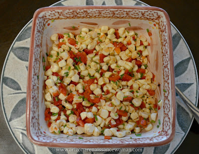 Salsa for Roasted Garlic Shrimp Tacos with Arugula, Manchego, and Corn, Red Pepper, and Chive Salsa