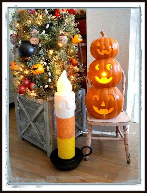 Fun Vintage Halloween Festive Christmas Tree-Candy Corn Candle Blowmold-From My Front Porch To Yours