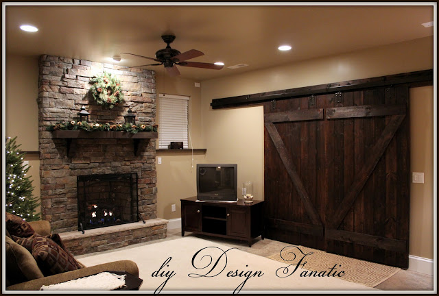 barn doors, diy barn doors, how to make barn doors, cottage, farmhouse, farmhouse style, basement, fireplace, diyDesignFanatic.com