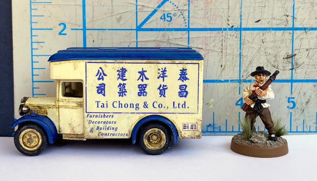 Lledo DG16 Dennis 1934 Parcels Van , Tai Choi Company, Shanghai, China, 28mm WW2 Bolt Action Wargaming
