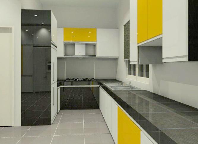warna terang pada kabinet tertentu sahaja mencipta efek highlight pada dapur