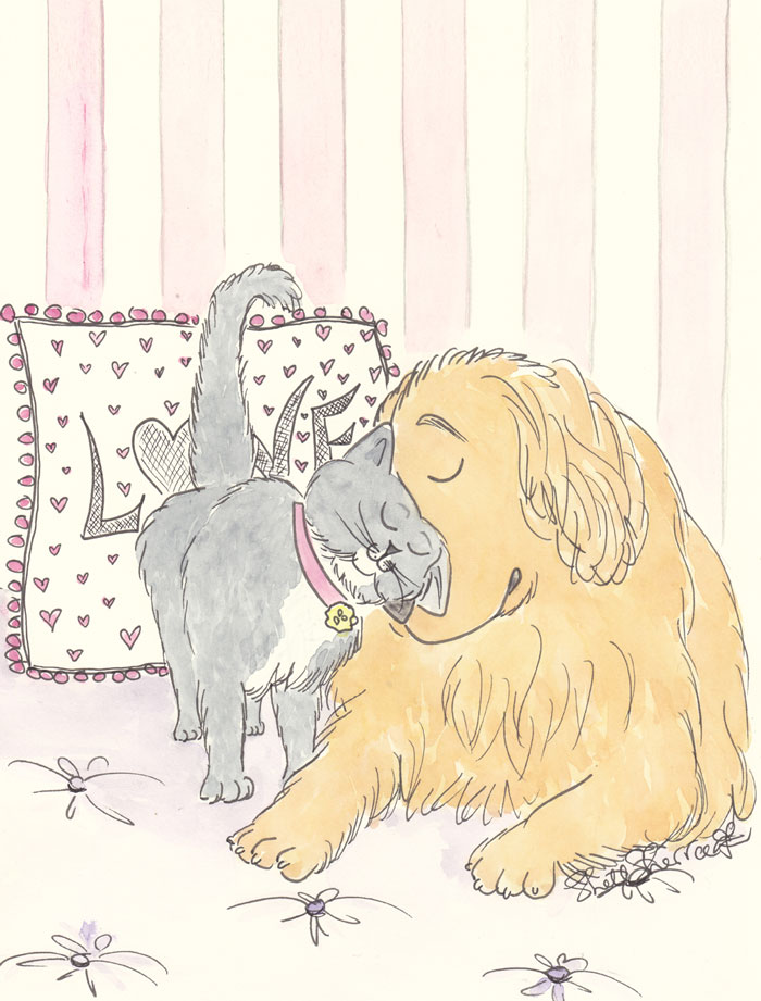 Golden Retriever and Sweet Cat Hugs illustration © Shell Sherree all rights reserved