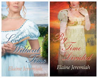 Book covers for Elaine Jeremiah's Love Without Time and By Time Divided