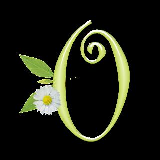 Alfabeto Verde Claro con Margarita Blanca.