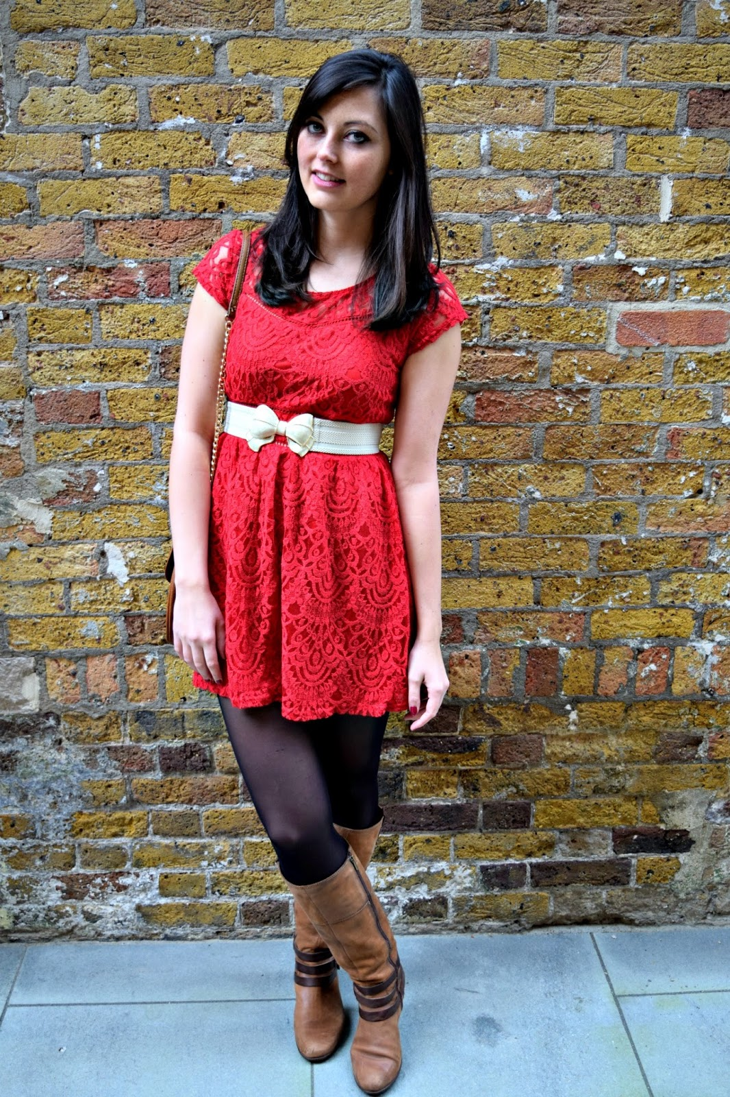 fashion outfit post including a red dress from H&M