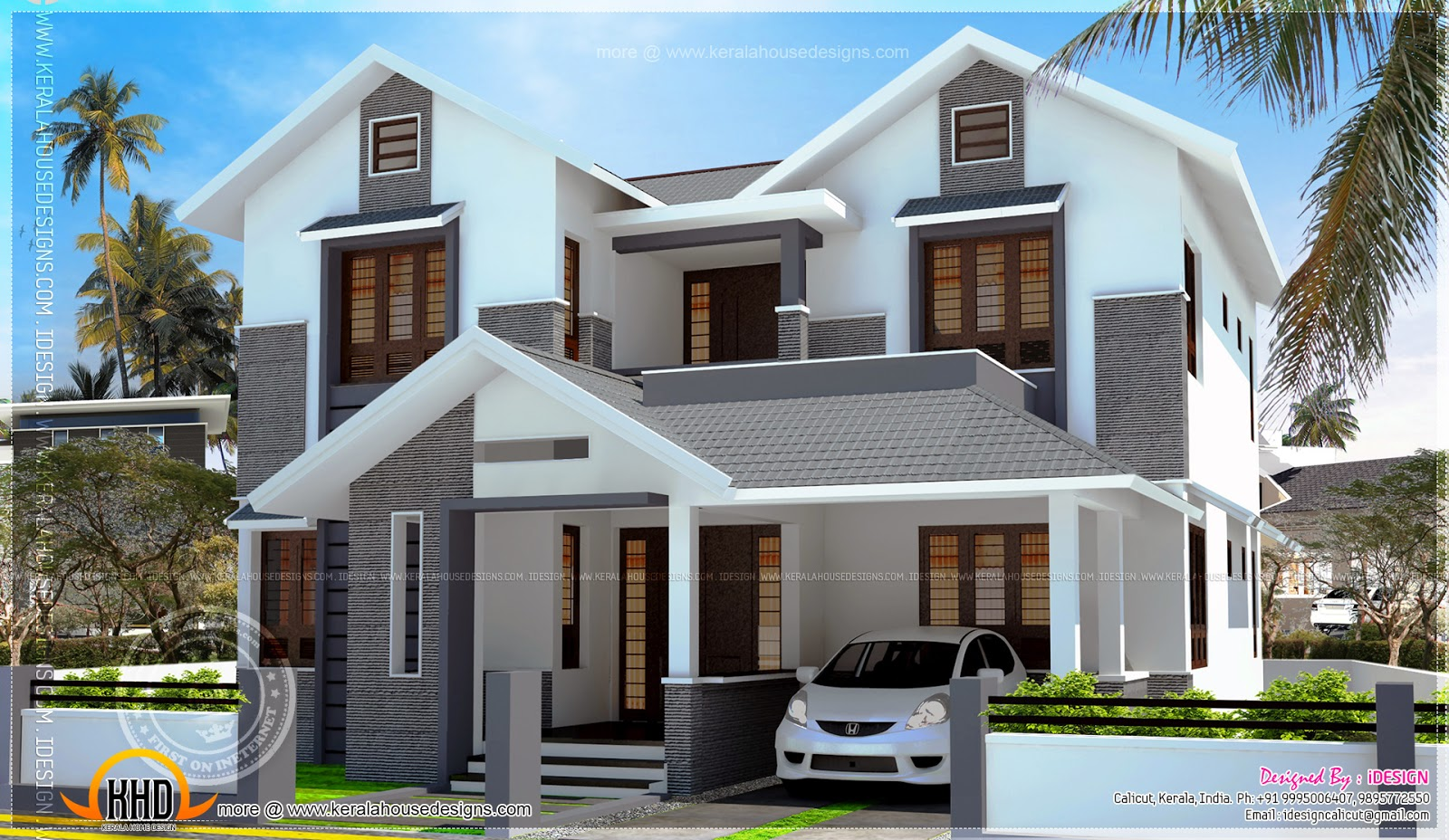 2200 modern sloping roof house with cost kerala for Kerala new house plans