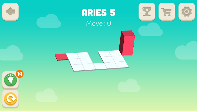 Bloxorz Aries Level 5 step by step 3 stars Walkthrough, Cheats, Solution for android, iphone, ipad and ipod