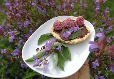 Tartelettes mit Salbei-Chili-Ganache, Himbeeren und Salbeiblüten