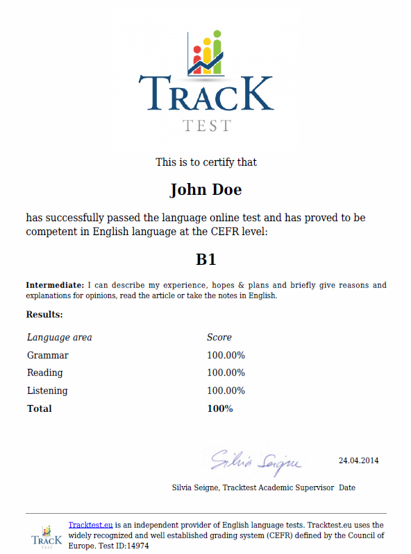 tracktest.eu English certificate sample