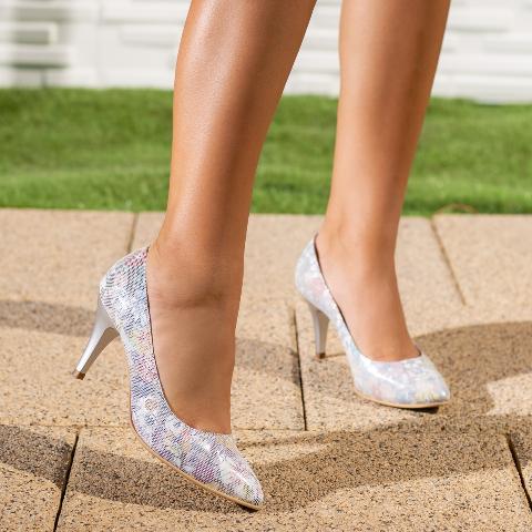Pantofi Piele dama cu toc gri cu imprimeu