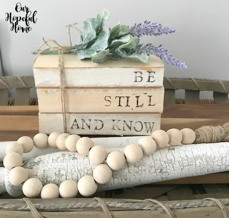 book bundle wood bead garland twine stamped words