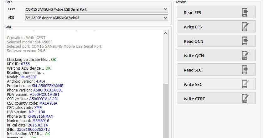 Samsung Galaxy A5 SM-A500F Z3x Prro Cert Write Done 1000