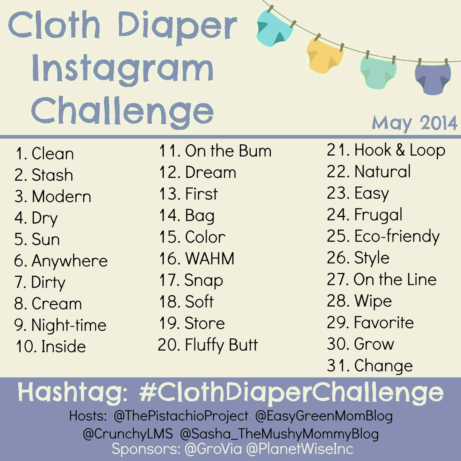 Cloth Diaper Instagram Challenge Giveaways