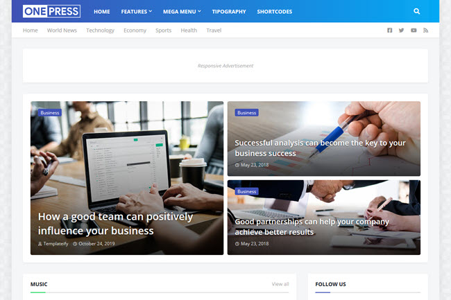 Free Download OnePress Blogger Template