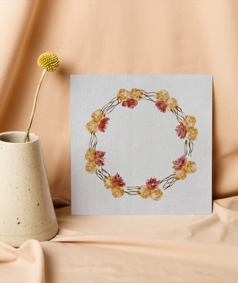 yellow and red peonies clipart floral wreath