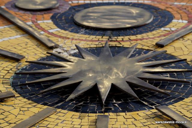 Warszawa Warsaw mozaika mosaic ceramika metal detal Osiedle Ateńska lata 70.