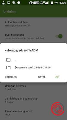 5. Lalu pilih folder yang ingin kalian gunakan sebagai lokasi penyimpanan dan pastikan berada di SD Card