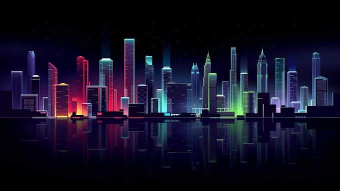 Papel de Parede Abstrato Cidade Neon