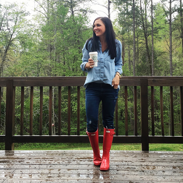 Chambray and denim, red hunter boots