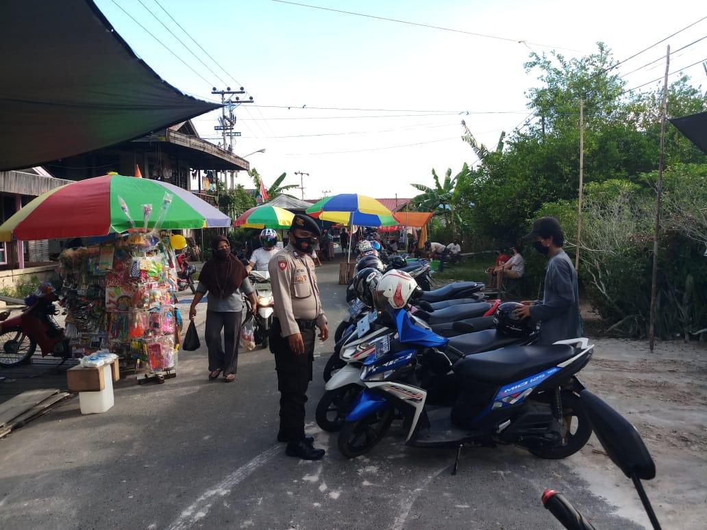 Patroli Pendisiplinan, Satsabhara Polres Barsel Ajak Masyarakat Patuhi Protokol Kesehetan
