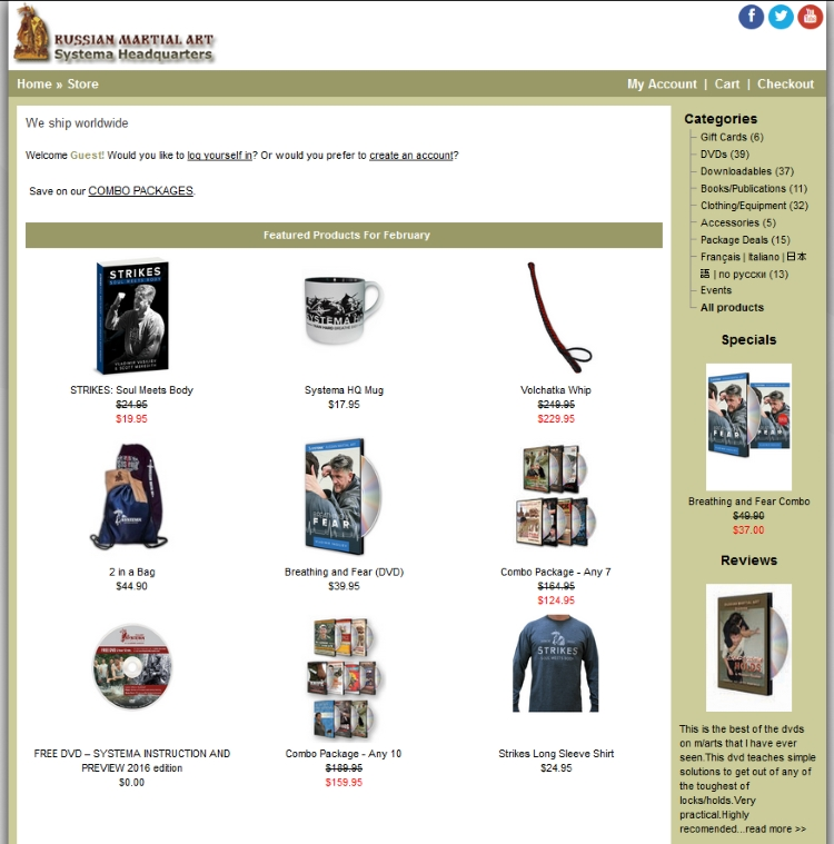 la boutique en ligne de Vladimir Vasiliev
