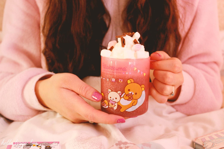 hot chocolate in rilakumma mug