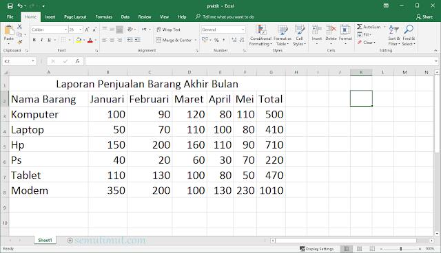 cara membuat tabel di ms excel