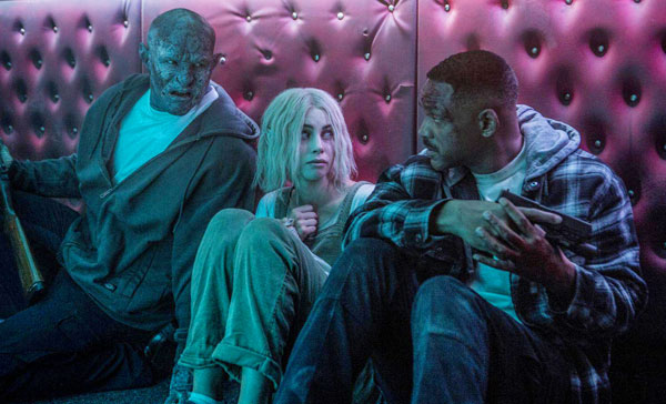 Daryl Ward (Will Smith), Tikka (Lucy Fry) and Nick Jakoby (Joel Edgerton) in BRIGHT (2017)