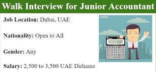 Junior Accountant Job Recruitment in Dubai Location