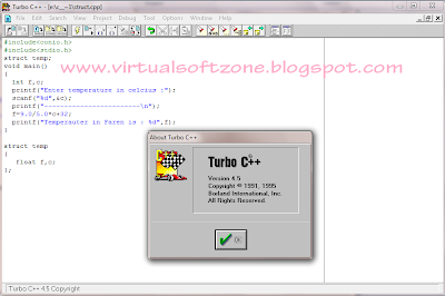 turbo c++ 4.5 full version For Windows 7 and Windows Xp free download By Virtualsoftzone.blogspot.com