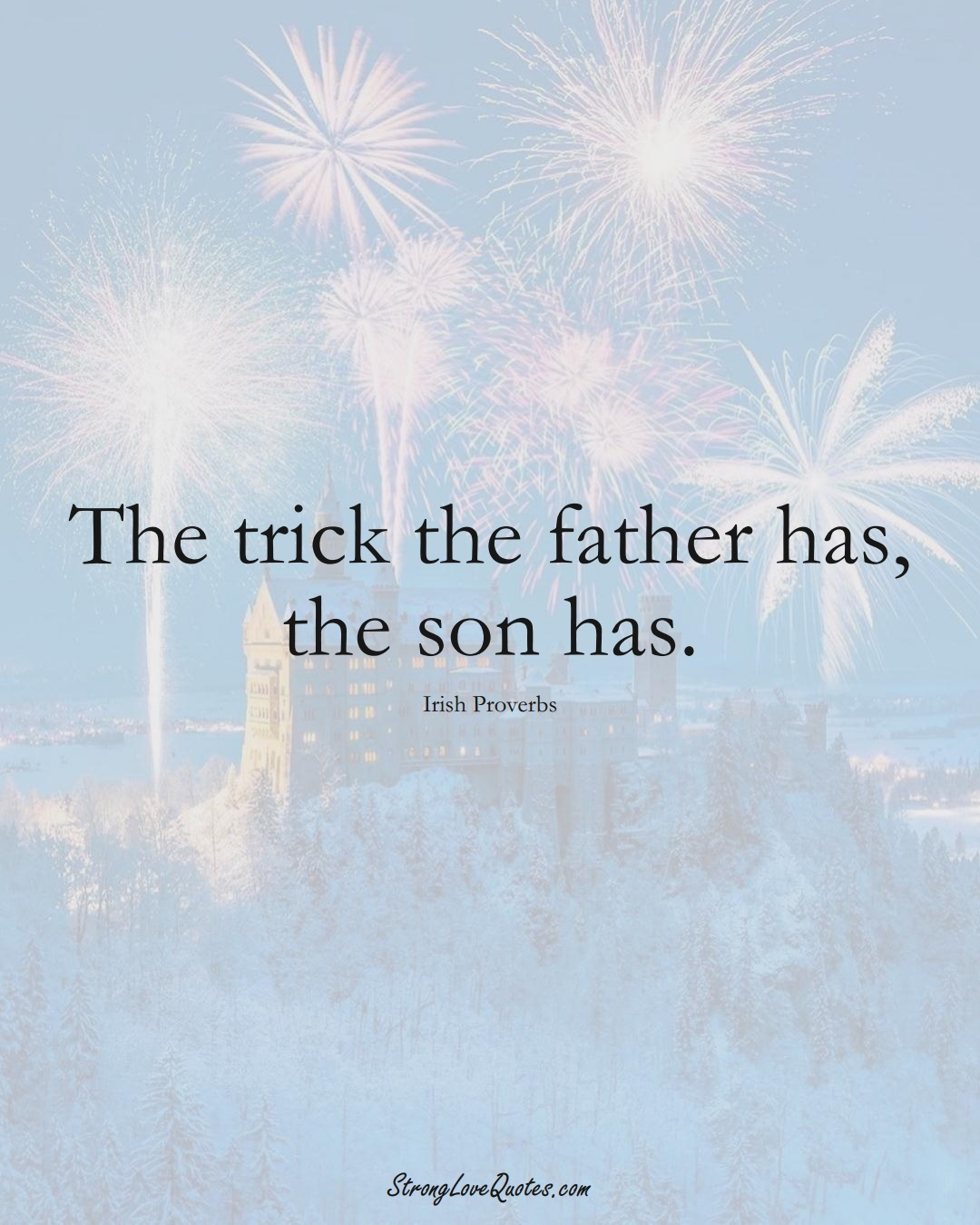The trick the father has, the son has. (Irish Sayings);  #EuropeanSayings