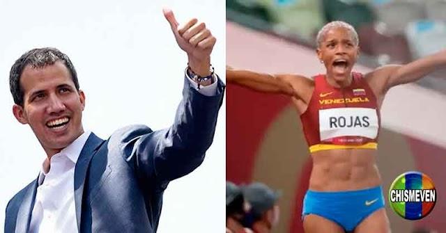 Juan Guaidó muy excitado por la medalla de oro de Yulimar Rojas