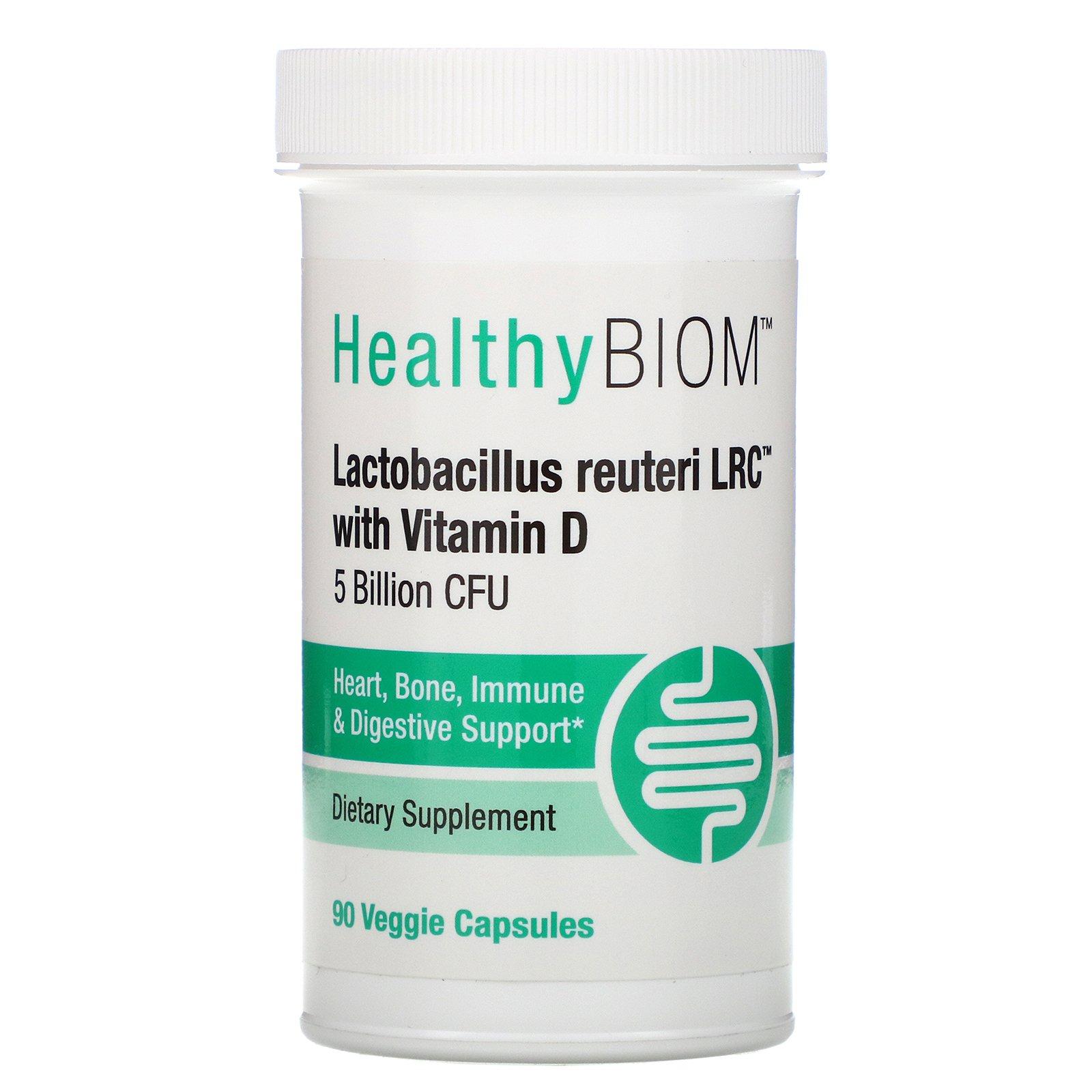 HealthyBiom, Lactobacillus Reuteri LRC с витамином D, 5 млрд КОЕ, 90 растительных капсул