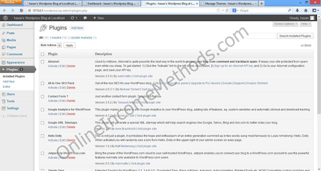 Wordpress Localhost WP-Admin - Plugin Installation