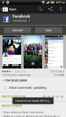 Check and request to install Facebook App