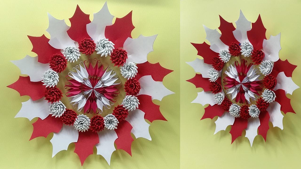 Christmas wreath origami with Santa,snowman, fir-tree and reindeer ...   720x1280