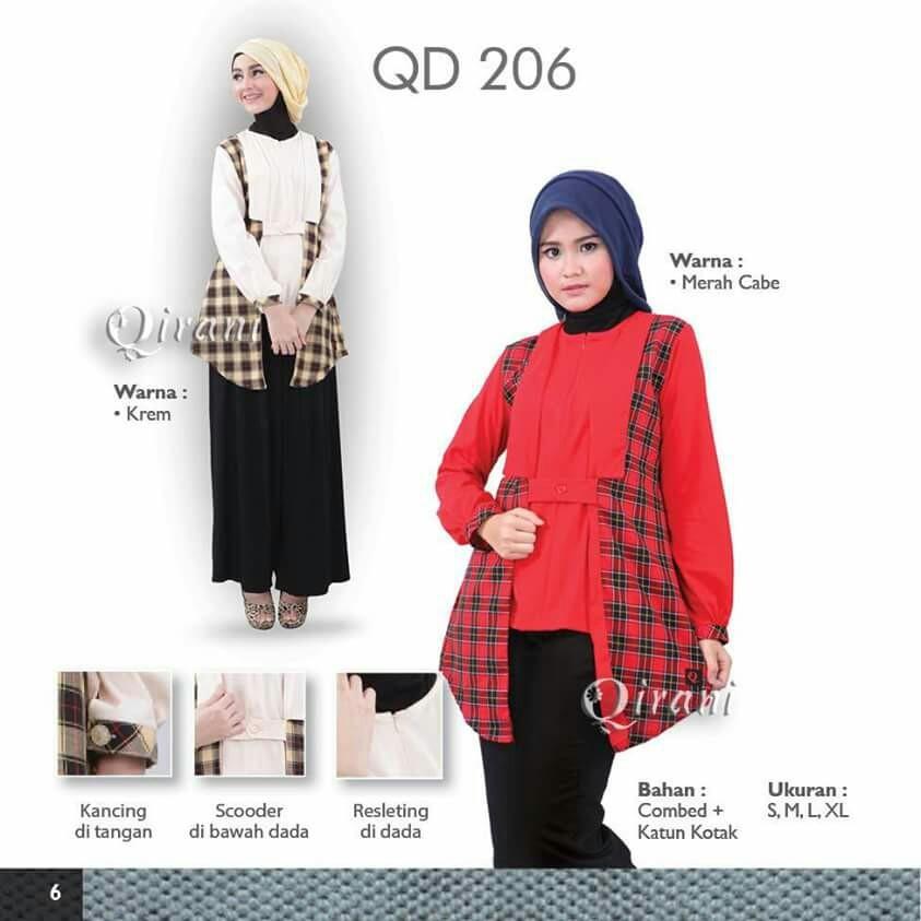 QD%2B206 baju muslim terbaru 2017 online katalog baju muslim qirani,Model Busana Muslim Qirani Terbaru