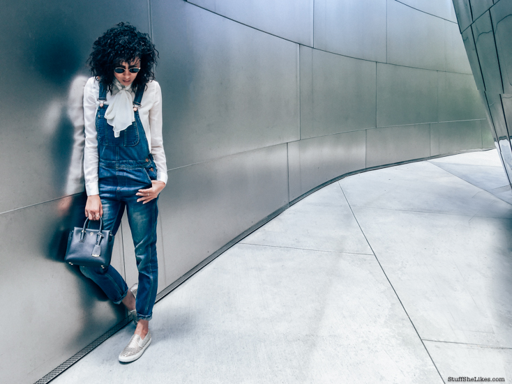 overalls, topshop overalls, necktie blouse, curly hair, fashion blogger, fashion, MCM bags, MCM mimi Milla bag, ted baker blouse, rayban sunglasses, downtown la, disney concert hall, Los Angeles blogger, top blogger, top fashion blogger, best fashion blogger top 10 fashion bloggers,